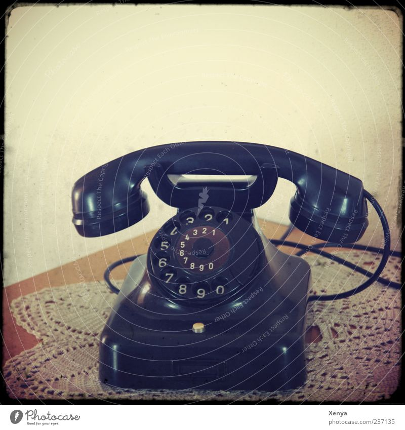 Call Telephone Old Retro Black Nostalgia Old fashioned Interior shot Deserted Copy Space top 1 Rotary dial Receiver