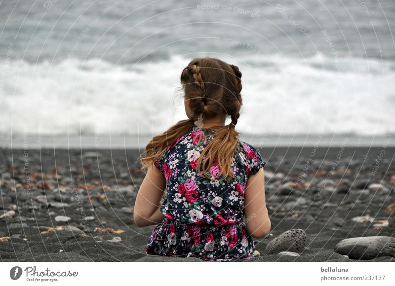 Number three. Human being Feminine Child Girl Infancy Life Head Hair and hairstyles Back Arm 1 Water Summer Beautiful weather Waves Beach Ocean Sit Lava beach