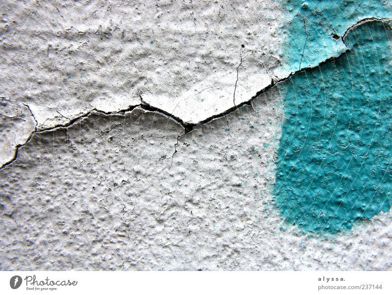 Blue White Green Graffiti Dye Facade Concrete Gloomy Crack & Rip & Tear Flake off