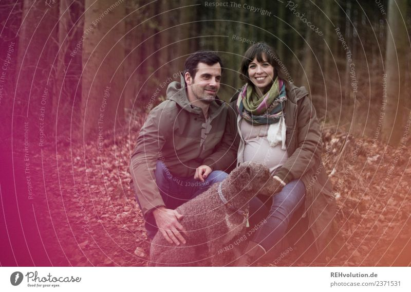 Young couple in the forest with dog Lifestyle Style Human being Masculine Feminine Young woman Youth (Young adults) Young man Family & Relations Couple Partner