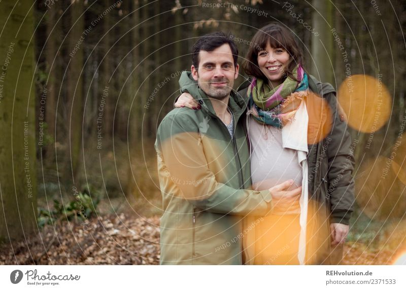 Young couple pregnant in forest Lifestyle Leisure and hobbies Human being Masculine Feminine Woman Adults Man Family & Relations Couple Partner 2 18 - 30 years