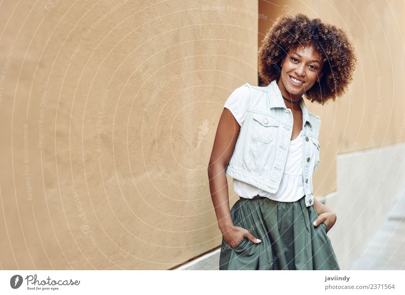 Young black woman, afro hairstyle, smiling outdoors Woman Human being Youth (Young adults) Young woman Beautiful Joy 18 - 30 years Adults Street Lifestyle