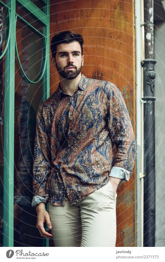 Young bearded man wearing modern shirt in the street Lifestyle Style Beautiful Hair and hairstyles Human being Masculine Young man Youth (Young adults) Man