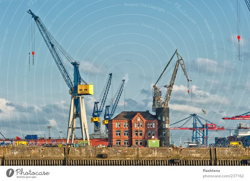 Clouds Loneliness Architecture Building Uniqueness Logistics Harbour Navigation Crane Blue sky Industrial plant Emotions