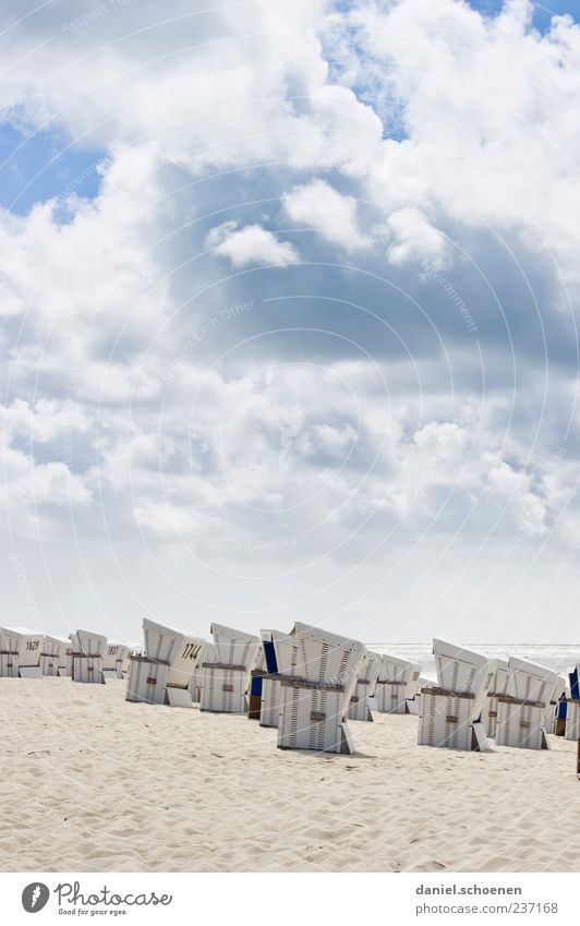 Sky Blue White Vacation & Travel Ocean Summer Beach Clouds Relaxation Sand Bright Weather Tourism Beautiful weather North Sea Summer vacation