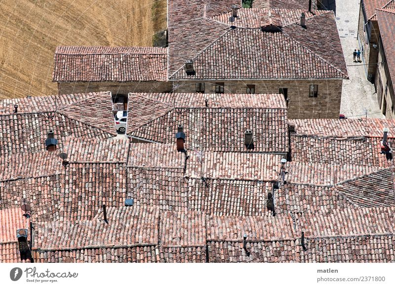 rooftops 2 Human being Small Town Old town House (Residential Structure) Architecture Wall (barrier) Wall (building) Roof Hot Historic Dry Brown Gray Red Field