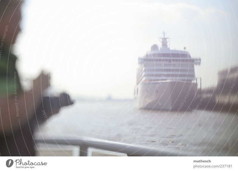 port romance Camera Human being Masculine Man Adults 1 Water Sky Navigation Cruise Cruise liner Harbour Blue White Take a photo Railing Channel