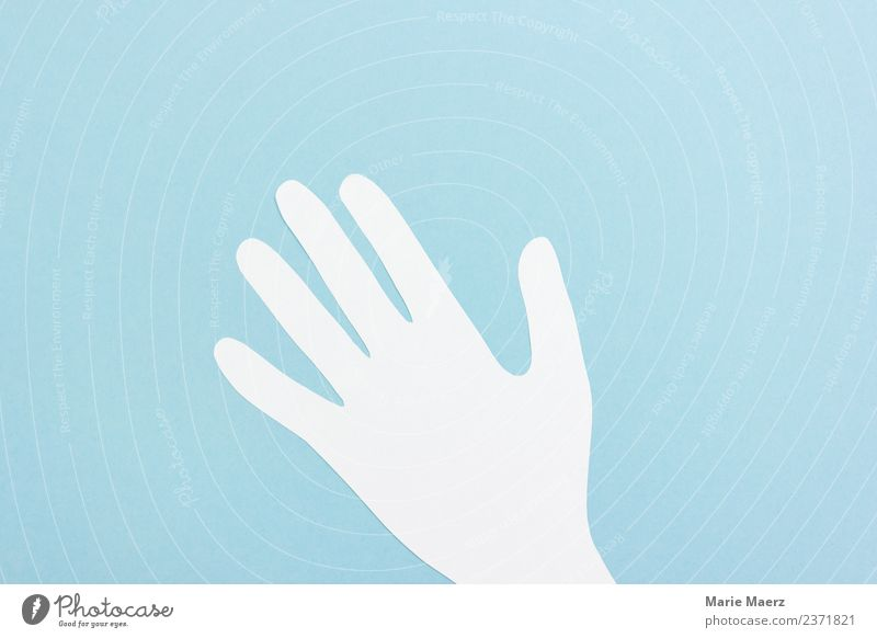 Hand silhouette made of paper Communicate Friendliness Blue White Brave Help Wave Pipe up Sign Signal Gesture join in Colour photo Studio shot Copy Space top