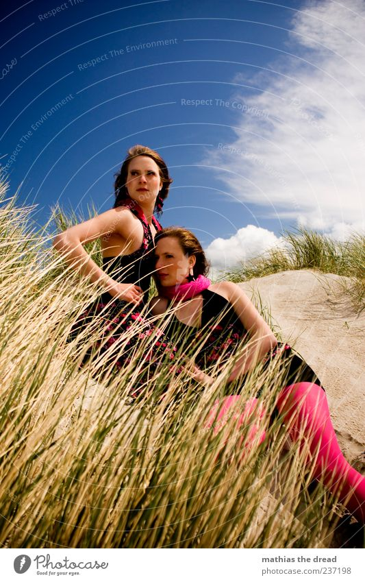 Human being Sky Youth (Young adults) Beautiful Summer Beach Clouds Adults Feminine Coast Grass Style Couple Together Elegant Lie