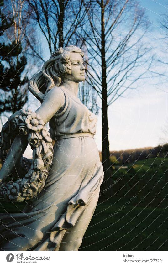 Stoned I Statue Woman Stagnating Sunrise Dress Concrete Art Sculpture Sky Blue petrified whoiscocoon
