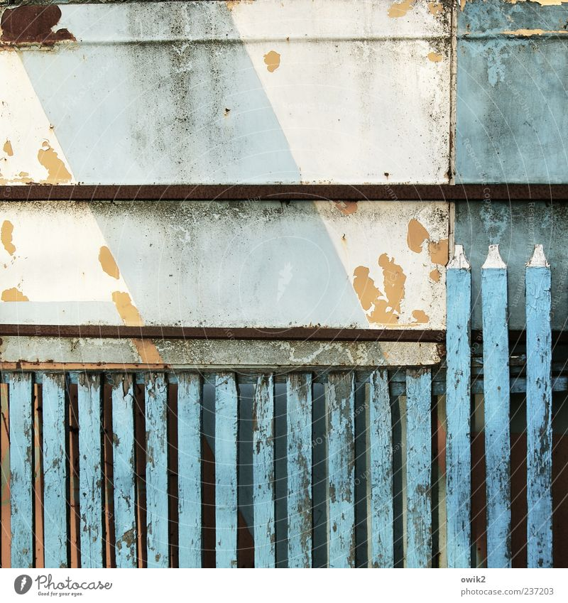 Blue Old White Colour Wood Gloomy Simple Derelict Firm Historic Fence Diagonal Tilt Crack & Rip & Tear Barrier Sharp-edged