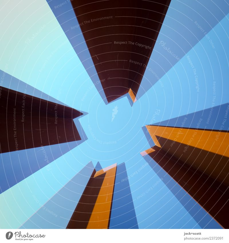 join two Quads together Blue Architecture Style Art Exceptional Moody Metal Perspective Change Planning Stripe Long Sharp-edged Double exposure Surrealism