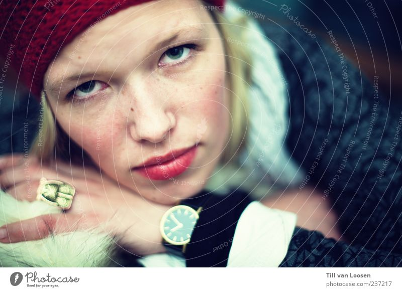 Human being Youth (Young adults) Blue White Red Adults Feminine Emotions Fashion Blonde Clock Young woman 18 - 30 years Broken Cap Ring