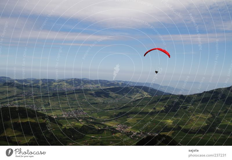 Weekend and sunshine Paraglider Paragliding Landscape Sky Clouds Eastern Switzerland Flying Free Red Freedom Colour photo Exterior shot Copy Space top Day