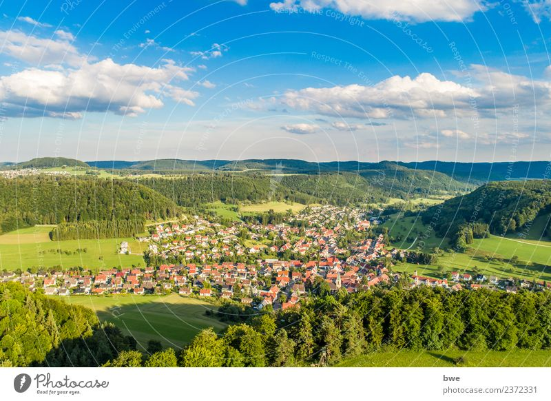 Albstadt Pfeffingen aerial photo Environment Nature Landscape Sky Clouds Horizon Sunlight Summer Climate Weather Beautiful weather Tree Foliage plant Field Hill