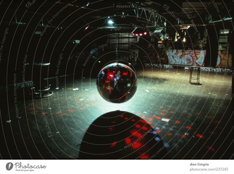 down by disco Club Disco Glittering Disco ball Stage lighting Analog Floor covering Empty Colour photo Interior shot Deserted Copy Space top Copy Space bottom