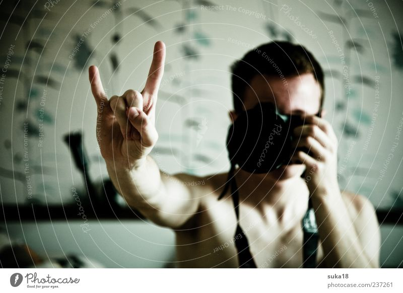 Masculine Fingers Young man Symbols and metaphors Camera Sign Rock music Make Photographer Take a photo Self portrait Rocker Subculture Rocking out Dark-haired