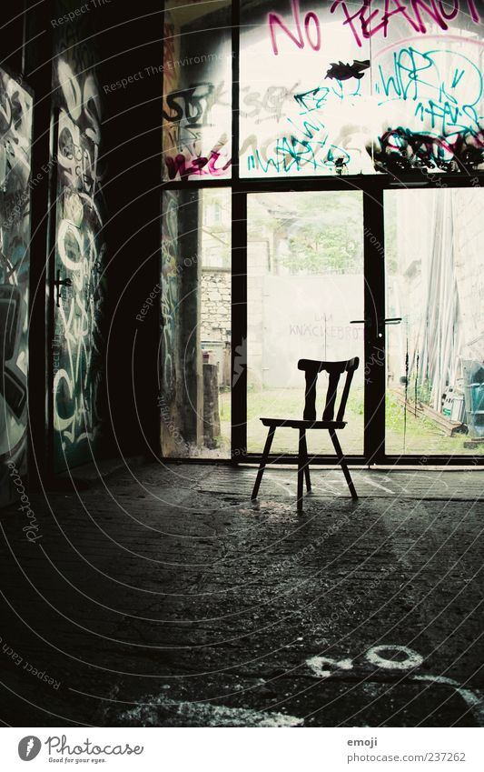 Loneliness Window Dark Graffiti Room Empty Chair Simple Seating