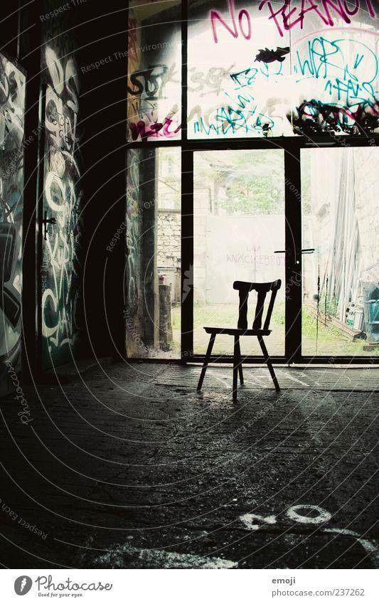 quadrupeds Dark Chair Seating Loneliness Colour photo Interior shot Deserted Shadow Light (Natural Phenomenon) Back-light Empty 1 Graffiti Simple Room Window
