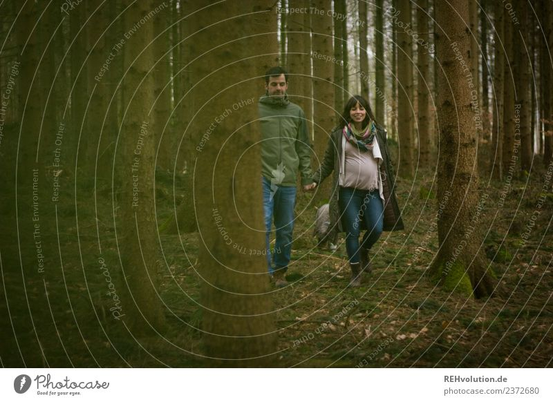 Woman Human being Nature Youth (Young adults) Man Landscape Forest 18 - 30 years Lifestyle Adults Autumn Environment Love Natural Feminine Happy
