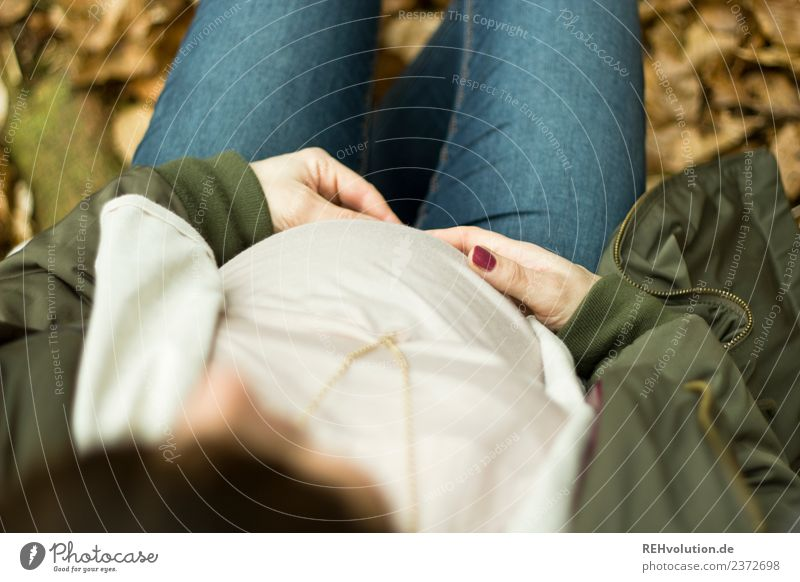 Pregnant woman sits in the Wlad Human being Feminine Young woman Youth (Young adults) Woman Adults Mother Life Stomach 1 18 - 30 years Environment Nature Autumn