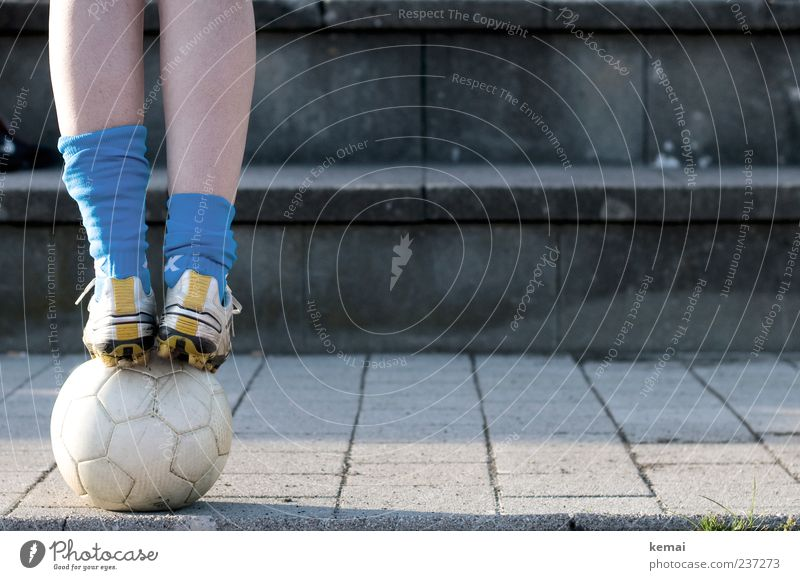 Human being Youth (Young adults) Blue Adults Legs Feet Footwear Leisure and hobbies Soccer Concrete Young woman Foot ball 18 - 30 years Stand Ball Balance