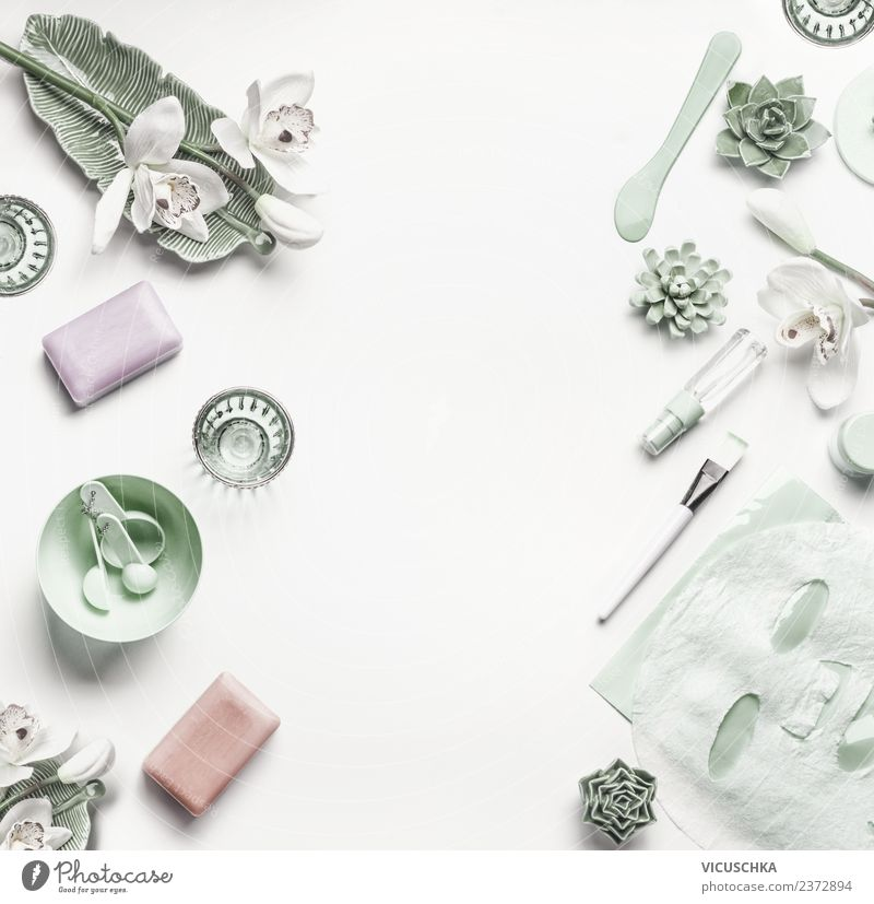 Green Cosmetics Background For Facial Skin Care A Royalty Free Stock Photo From Photocase