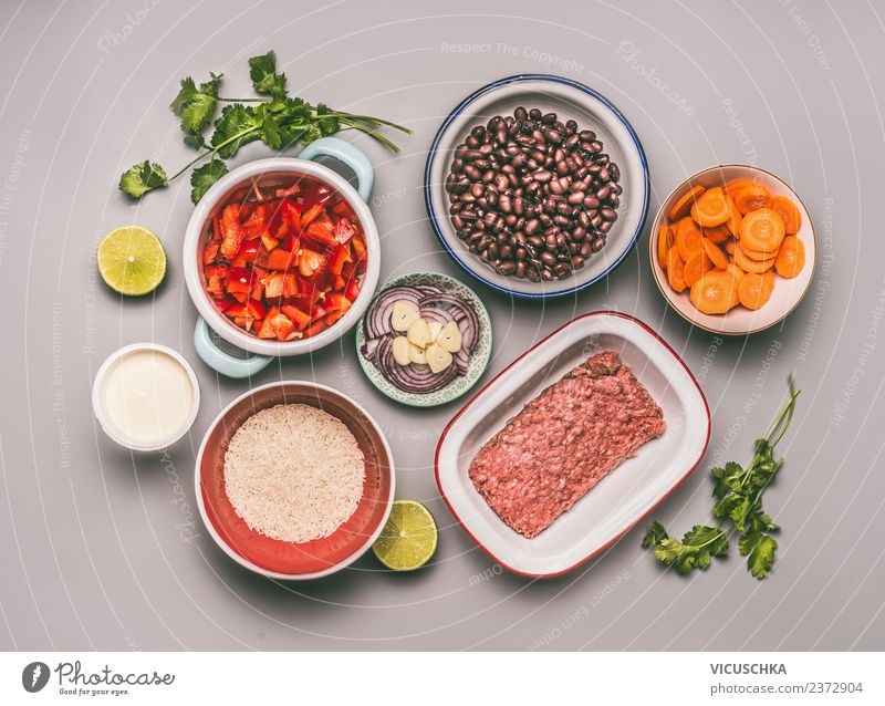 Ingredients for a balanced meal Food Meat Vegetable Grain Nutrition Lunch Dinner Organic produce Crockery Bowl Style Design Healthy Kitchen Rice Beans Balanced
