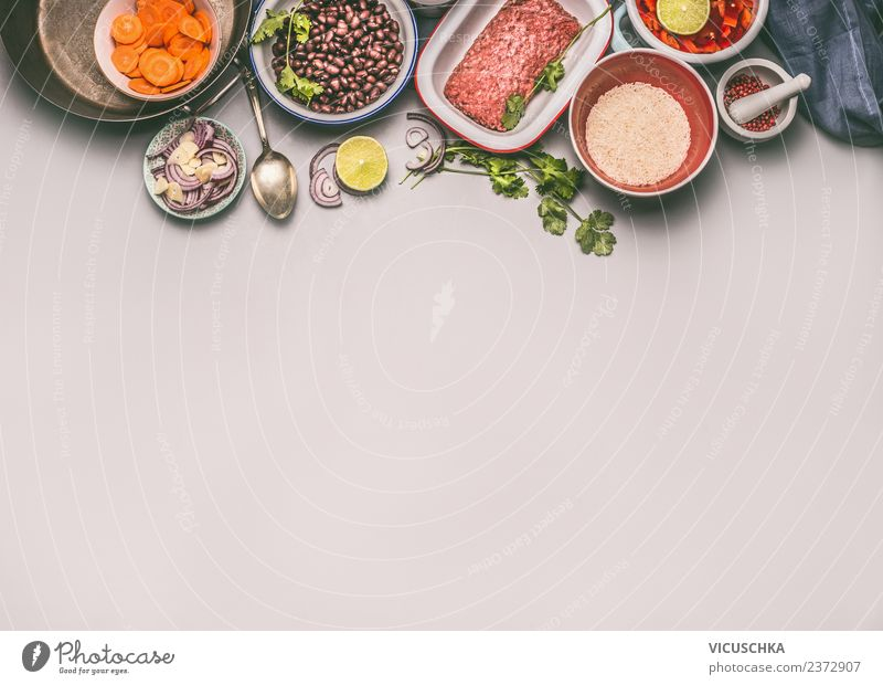 Ingredients for a balanced diet Food Meat Vegetable Grain Herbs and spices Cooking oil Nutrition Lunch Dinner Organic produce Diet Crockery Plate Bowl Pot Style