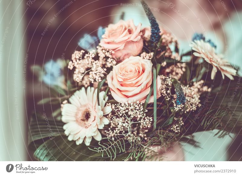 Bouquet of flowers with gerbera, roses and leaves in female hand Style Design Beautiful Feasts & Celebrations Feminine Woman Adults Hand Autumn Flower Rose Leaf
