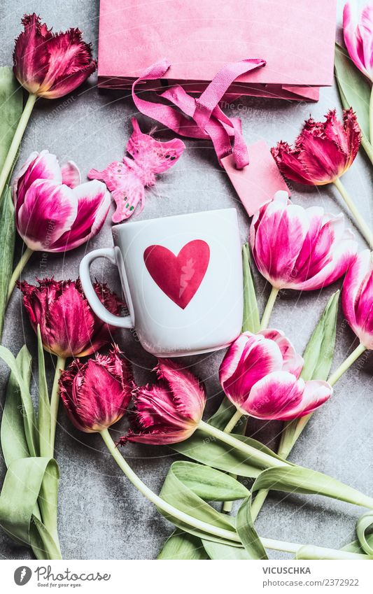 Pink tulips and white cup with heart Shopping Style Design Event Feasts & Celebrations Valentine's Day Mother's Day Wedding Birthday Nature Plant Flower Tulip