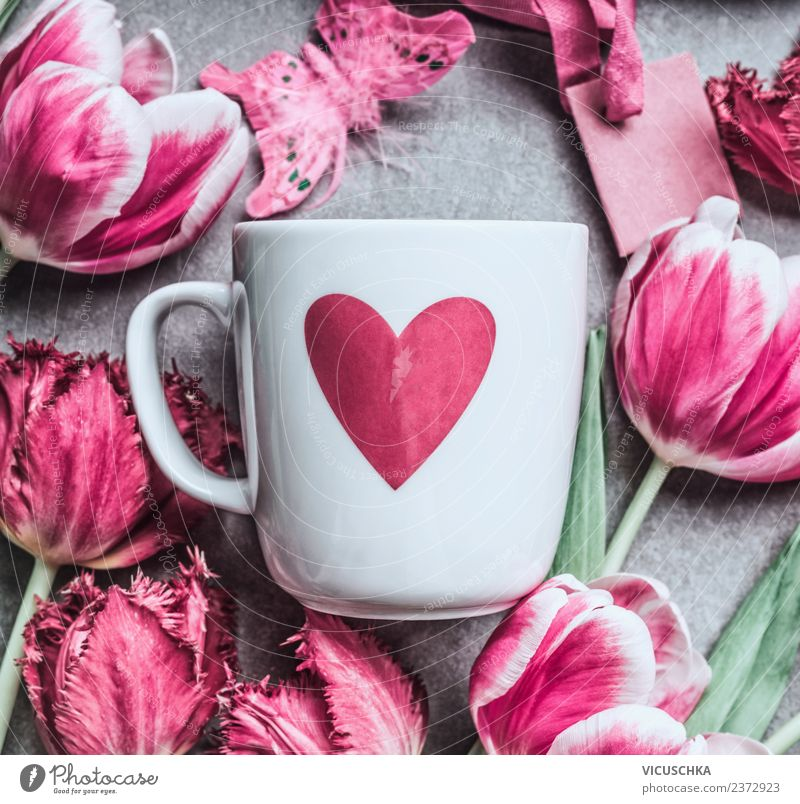 White cup with heart and pink tulips Beverage Style Design Feasts & Celebrations Valentine's Day Mother's Day Birthday Plant Flower Tulip Decoration Bouquet