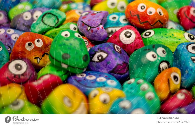Monster rocks, colorful! Leisure and hobbies Human being Group Art Stone Smiling Exceptional Uniqueness Funny Emotions Moody Joy Happy Authentic Tolerant