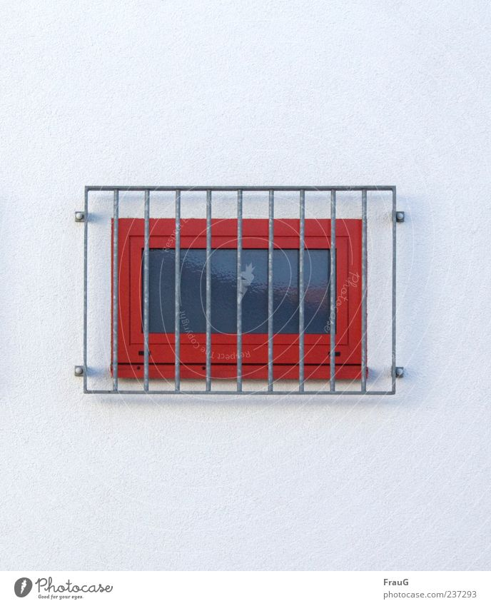 behind bars Building Wall (barrier) Wall (building) Window Grating Concrete Metal Gray Red Safety Protection Colour photo Exterior shot Day Reflection