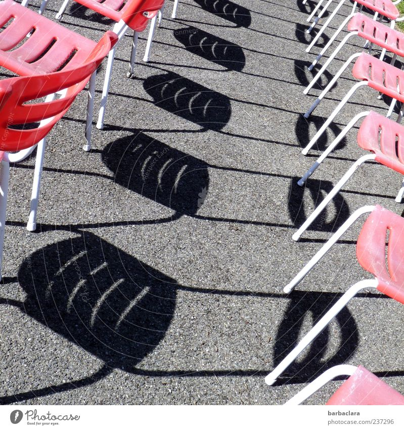Who has the choice... Relaxation Calm Chair Places Row of chairs Gray Red Black Esthetic Arrangement Whimsical Surrealism Colour photo Exterior shot Pattern
