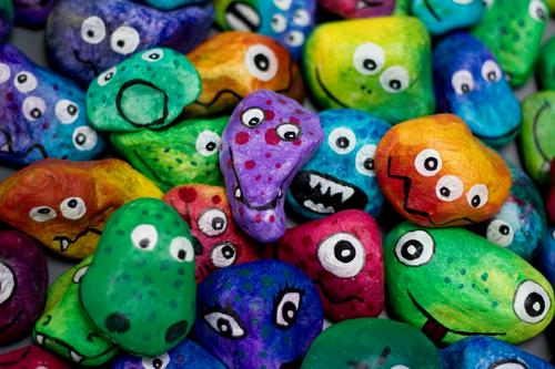 Joy Face Eyes Funny Emotions Art Stone Group Together Creativity Crazy Uniqueness Idea Many Attachment Figure