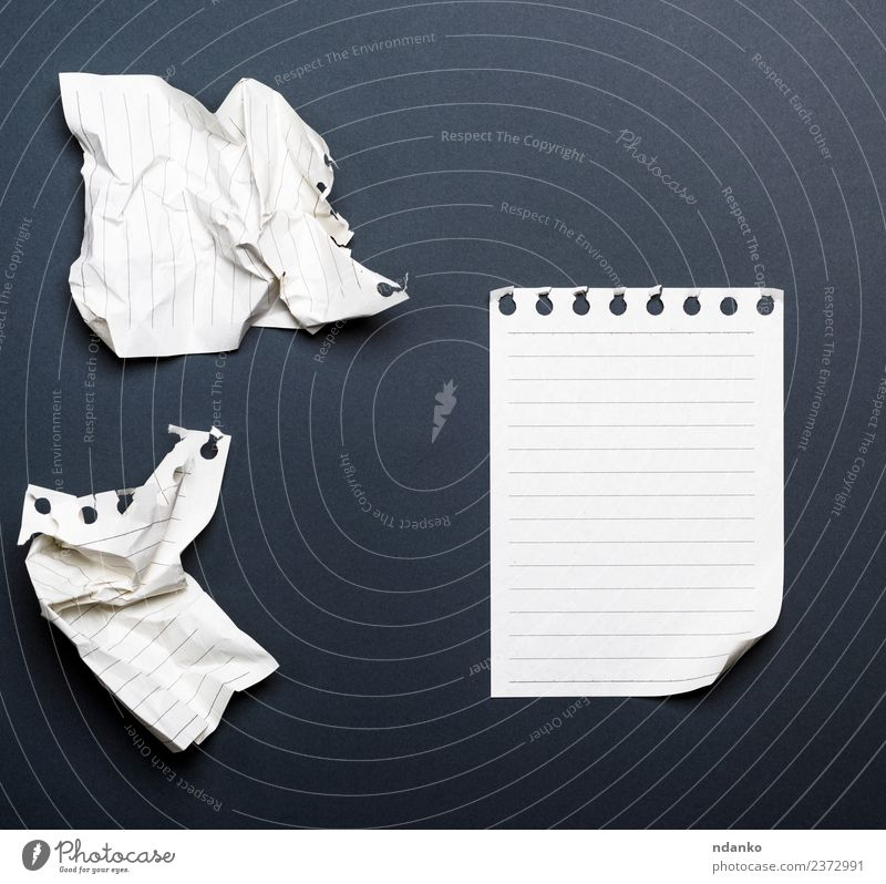 white sheets of a diary School Office Business Paper Piece of paper Write Black White crumpled background Bent Blank corner Diary Document education empty Graph