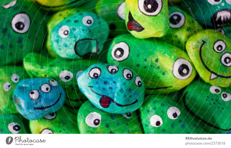Green Joy Face Eyes Funny Exceptional Stone Creativity Uniqueness Idea Inspiration Handicraft Painted Monster