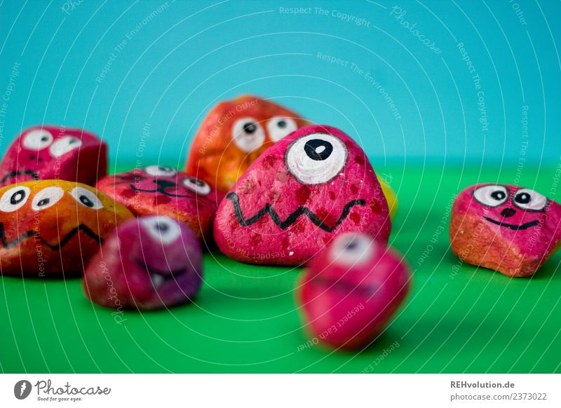 Monster Stones | red Style Leisure and hobbies Art Emotions Moody Honest Fear Dangerous Stress Character Difference Exceptional Eyes Figure Green Blue