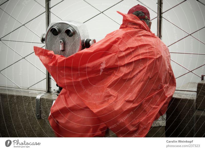 Man Red Rain Wind Gale Tourist Binoculars Telescope Rain jacket Baseball cap