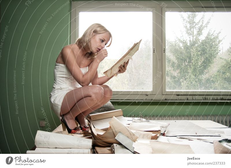 Woman Hand Beautiful Adults Window Office Work and employment Blonde Sit Exceptional Table Study Paper Reading To hold on Desk