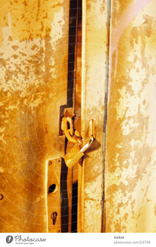 You're not getting in here! Partition wall Night Close Industry Castle Orange Door Rust Old Gate Chain closed whoiscocoon