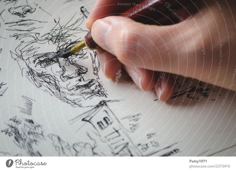 Human being Hand Relaxation Face Art Esthetic Creativity Painting and drawing (object) Draw Chaos Drawing Bizarre Work of art Artist Painter Ink