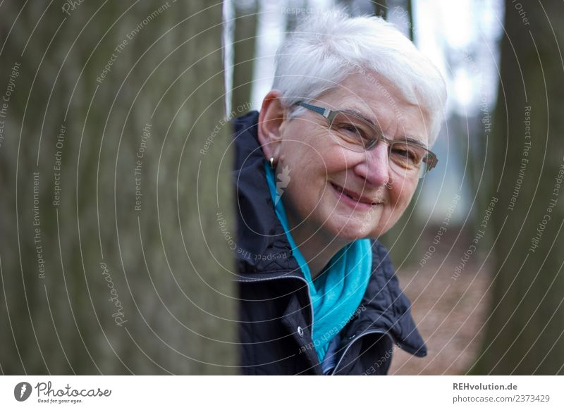 Senior smiles in the forest Lifestyle Leisure and hobbies Human being Feminine Woman Adults Female senior Grandmother Senior citizen 1 60 years and older