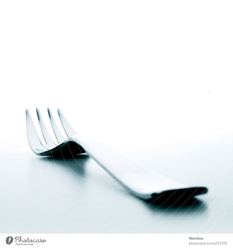 non-food-photo² Metal Esthetic Fork White High-grade steel Cutlery Clean Deserted Bright background 1 Lie Glittering Long shot Copy Space top Copy Space right
