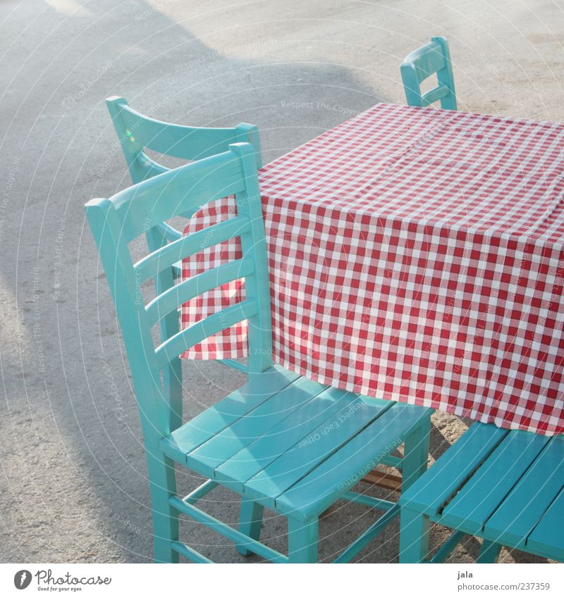 Table Empty Chair Restaurant Turquoise Gastronomy Checkered Tablecloth Seating Colour Wooden chair Sidewalk restaurant