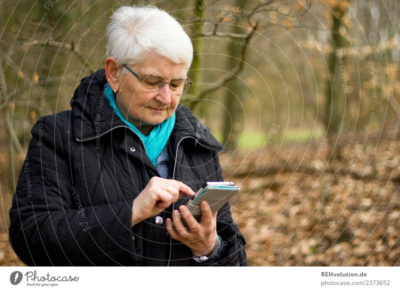 Woman Human being Old Tree Winter Forest Environment Senior citizen Feminine Communicate Technology 60 years and older Telecommunications Authentic Beginning