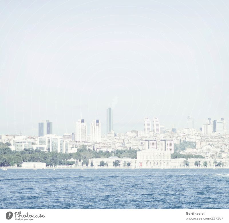 Skyline Istanbul Town House (Residential Structure) High-rise Bright Blue Turkey The Bosphorus Blue sky Strait Colour photo Subdued colour Exterior shot