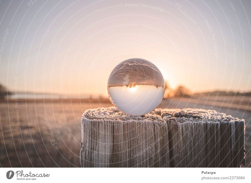 Glass orb on a wooden post in the sunrise Sky Nature Vacation & Travel Christmas & Advent Beautiful Landscape Sun Tree Winter Forest Environment Autumn Natural