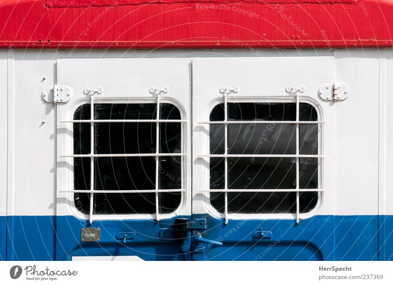 Blue White Red Window Dye Metal Glass Closed Grating Varnished Site trailer